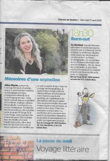 La Tribune de Genève - 27/04/2016